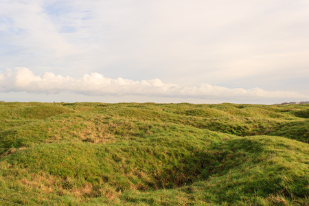 trenches: The trenches and craters on battlefield of Vimy ridge