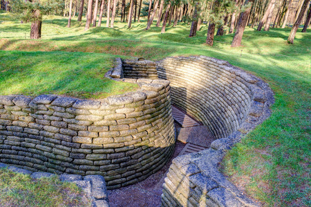 trenches: the trenches of the battlefield at Vimy France Stock Photo