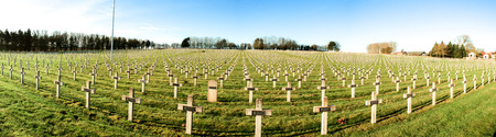 a memorial to fallen soldiers: Panorama cemetery of French soldiers from World War 1 in Targette