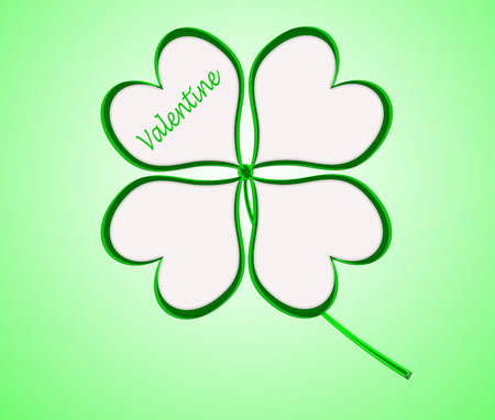 four leaf clover in green made of hearts photo