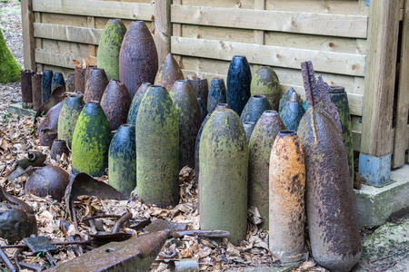 artillery shell: bombs and grenades from World War 1 in Flanders Belgium
