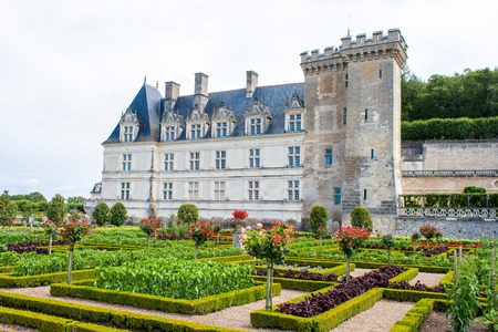 touraine: castle gardens with boxwood and vegetables and flowers