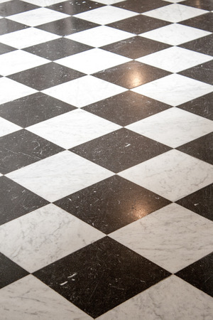 black floor: floor with black and white tiles