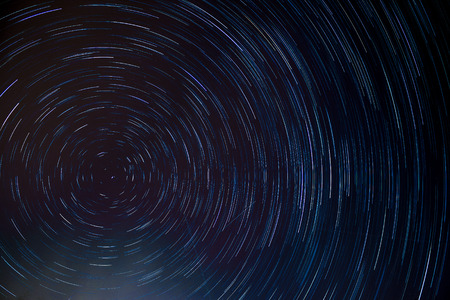 north pole: circle star trail at the north pole star Stock Photo
