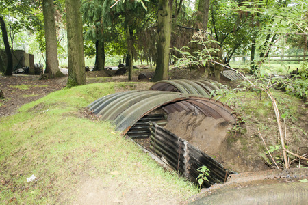 trenches: trenches of the First World War in belgium Stock Photo