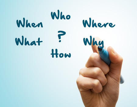 pointed arm: Hand writes When planning what who where why how
