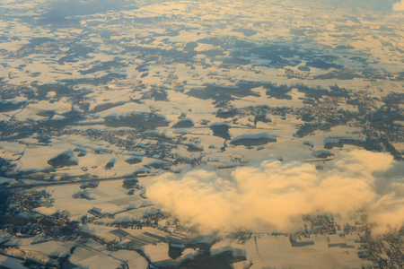 aerial view of a snowy landscape