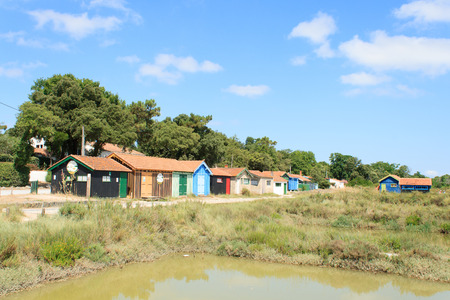colorful cabins on the island oleron france