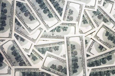 grand hard: A lot of dollars in hundred bills Stock Photo