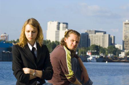 Quarrel between man and woman photo
