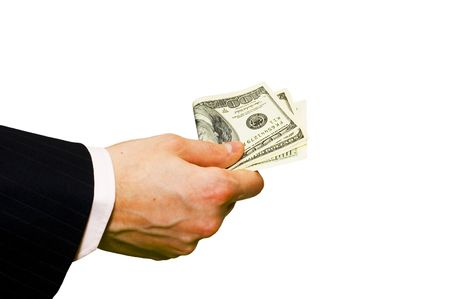 Hand with money isolated on white background Stock Photo - 619195