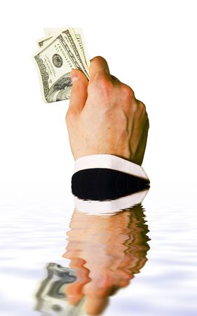 Sinking hand with money isolated on white background Stock Photo - 619194