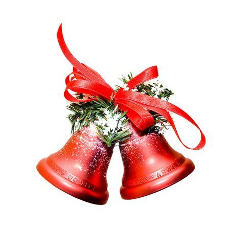 Kerstmis klokken geïsoleerd op witte achtergrond Stockfoto