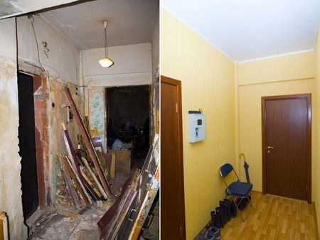 abandonment: Interior reconstruction: before and after