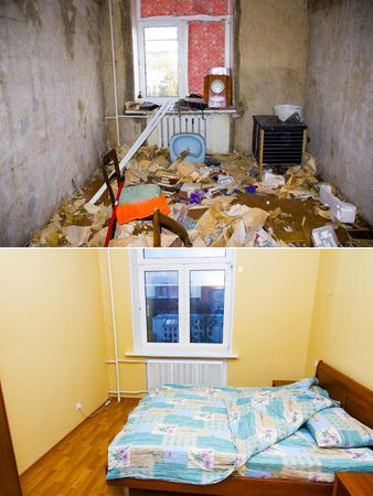 abandoned house window: Interior reconstruction: before and after