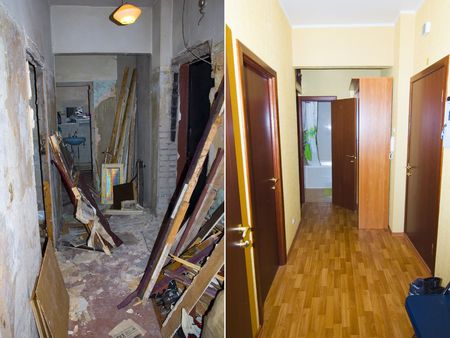 RENOVATE: Interior reconstruction: before and after