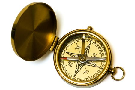 Old style brass compass on white background Stock Photo - 675504