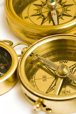 compasses: Old style brass compasses on white background