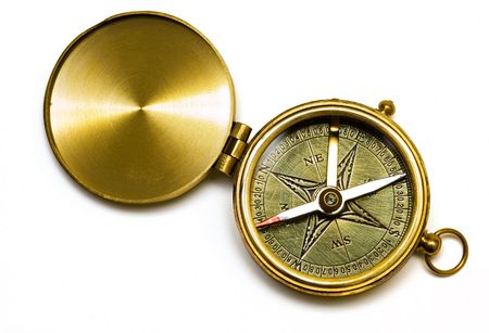 Old style gold compass on white background Stock Photo - 703424