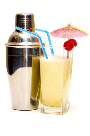 colada: Pina colada cocktail with umbrella isolated