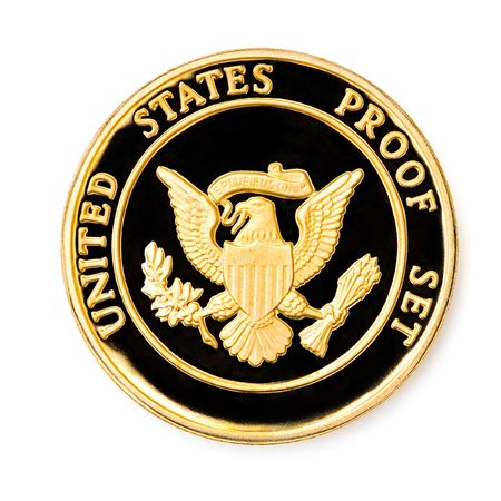 uncirculated: Perfect uncirculated coin isolated on white background Stock Photo