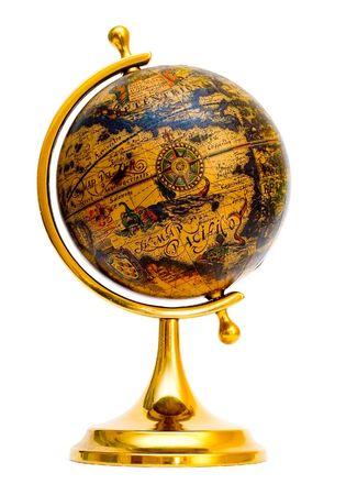 Old style globe isolated on white background photo