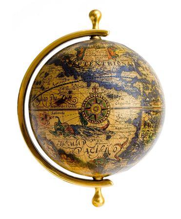 latitude: Old style globe isolated on white background