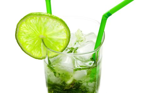 Mojito cocktail isolated on white background photo