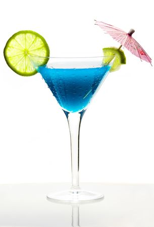 Cocktail with blue curacao photo