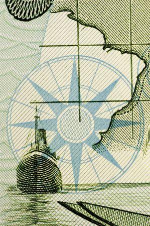 compass map: Compass & map (Portuguese escudo close up)