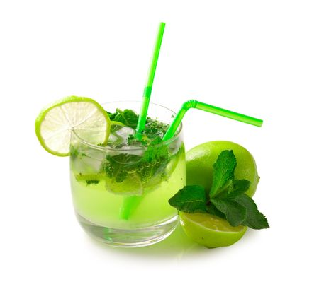 Mojito cocktail & ingredients isolated on white background                                     photo