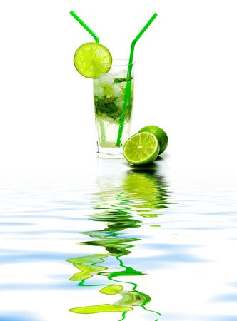 Mojito cocktail isolated on white background with reflection on water