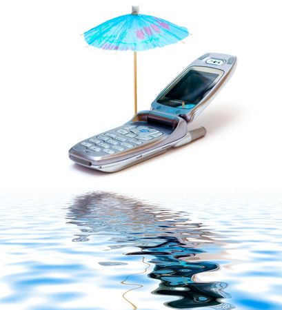 Phone as chaise longue and umbrella isolated on white  with reflection on water