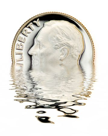 uncirculated: Perfect uncirculated dime with reflection on water