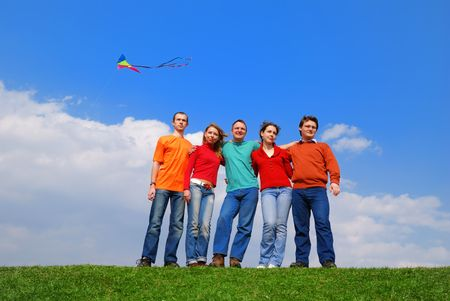 Group of people against blue sky Stock Photo - 874216