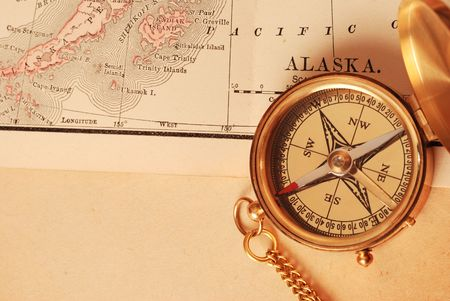 Antique Brass Compass Over Old Alaska Map Stock Photo Picture And - Antiques us maps with compass
