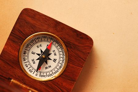 Antique wooden compass over old map background Stock Photo - 951089