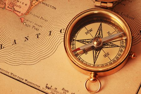 Antique Brass Compass Over Old USA Map Background Stock Photo - Old us map background