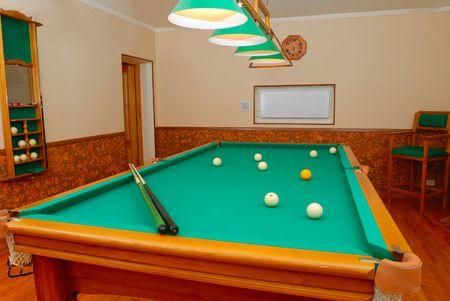 billiards rooms: Billiards room interior in private house Stock Photo