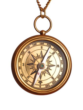 Antique brass compass isolated on white Stock Photo