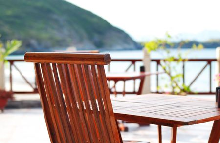 A patio and chairs in tropical resort Stock Photo - 2528439