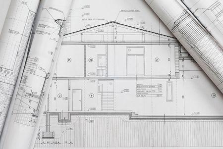 House plan blueprints roled up  Stock Photo