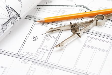 architectural: Tools over house plan blueprints
