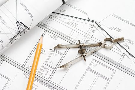 Tools over house plan blueprints