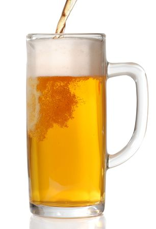 Beer mug isolated on white. Pouring beer in it. Stock Photo - 2679352