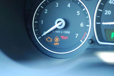 kilometres: Car gauge close up, shallow DOF