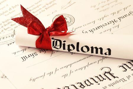 licenciatura: Diploma de graduaci�n, profundidad de campo  Foto de archivo