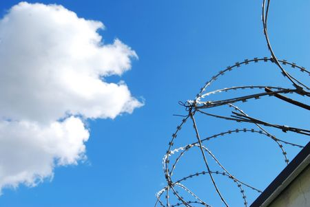 Barbed wire in front of sky Stock Photo - 3459362