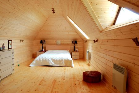 Wooden bedroom luxury rural interior photo