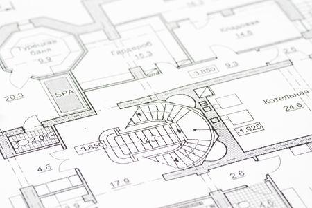 House plan blueprints close up Stock Photo - 3731854